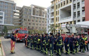 強化選舉消防安全 中市計票中心實地災防演練。(記者陳信宏翻攝)