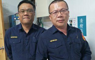 處理員警相片。(記者潘嵩仁翻攝)
