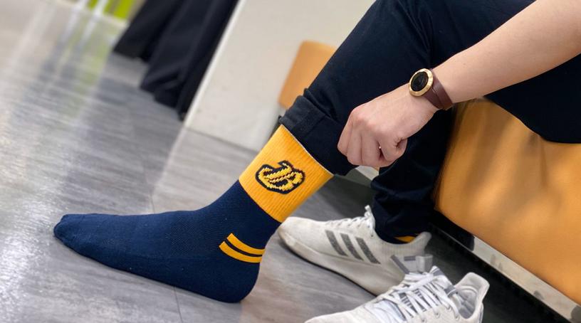 圖文:sNug科技健康襪提供中信兄弟機能除臭襪具高防護性的設計。(記者楊清瑜/攝影)
