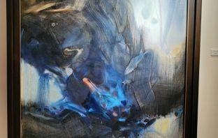 朱德群1989油畫「夜之映像」。(葉志雲攝