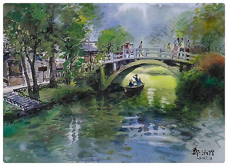 鄭炳煌老師水彩畫作「西溪微雨」