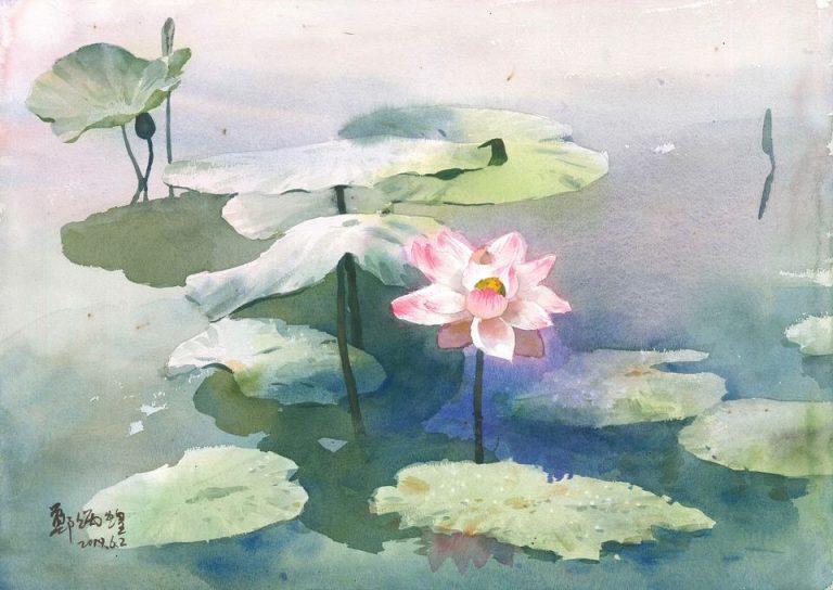 鄭炳煌老師水彩畫作「雨后新荷」